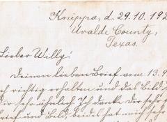 Der Brief einer uns unbekannten Dame aus Knippa/Uvalde in Texas